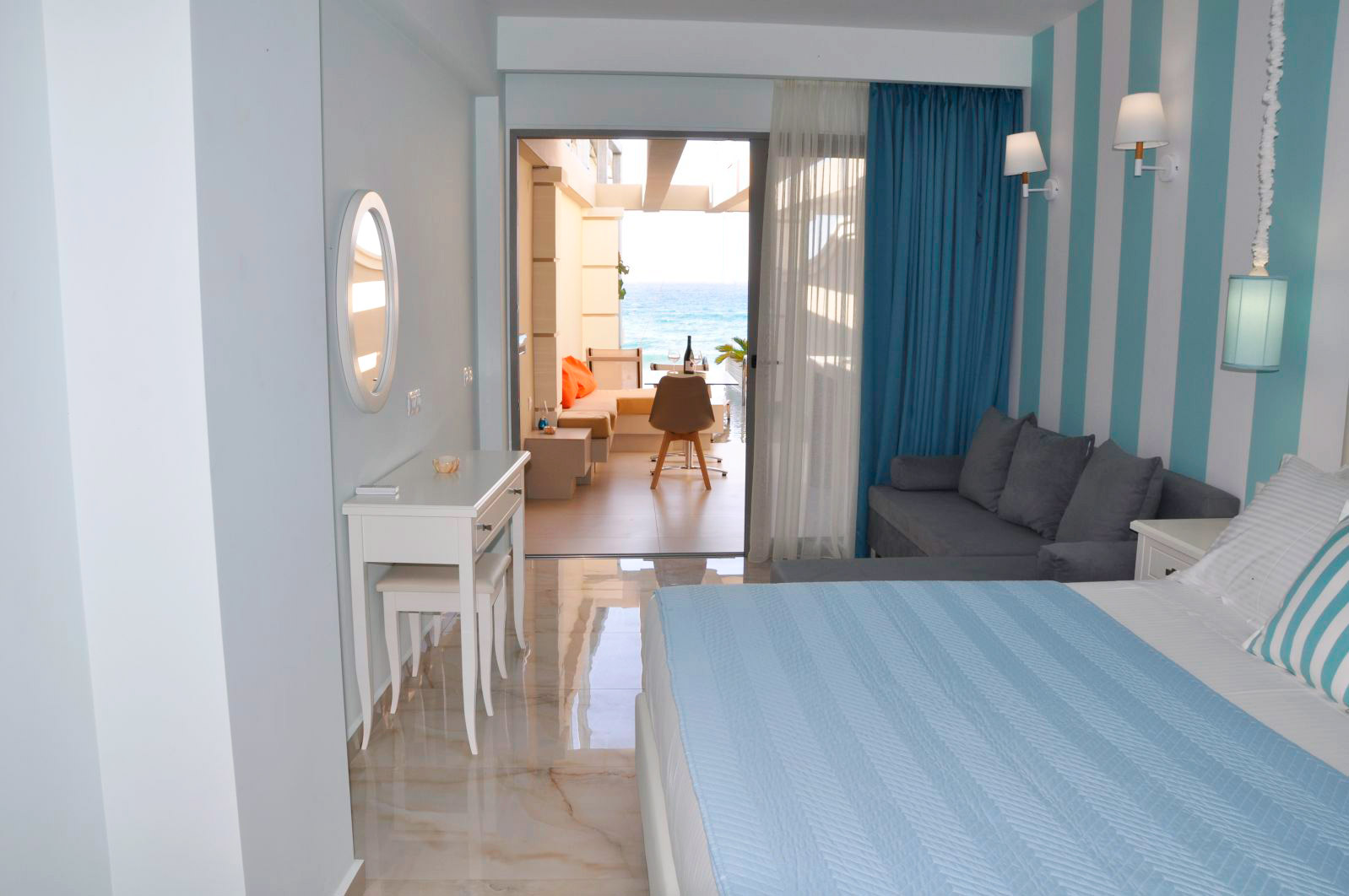 view from the double studio agios gordios beach resort