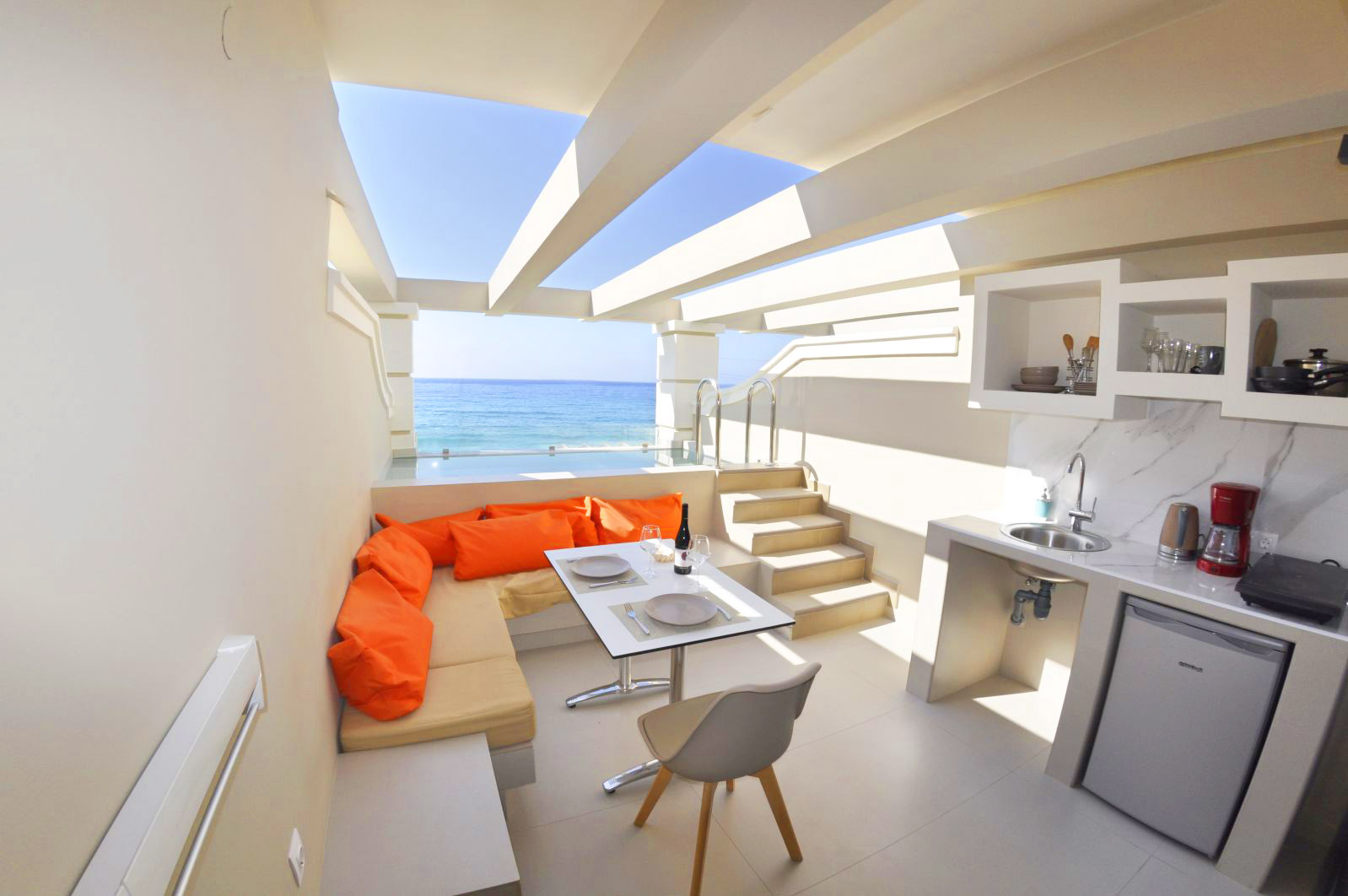balcony of split level apartment